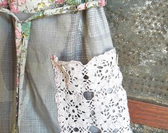 Vintage Barkcloth & Lace Drawstring Bag with Lace Pocket