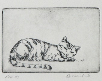 original etching of sleeping cat