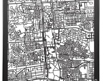 Citymap Lelystad Netherlands - 60 cm x60 cm - lasercut - Black MDF wood - frame included