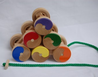 Toy Stack & Roll Pull Toy - Handcrafted Wooden Stack and Roll Pull Toy - Pull it up and down stairs - toddler gift - desktop toy icebreaker