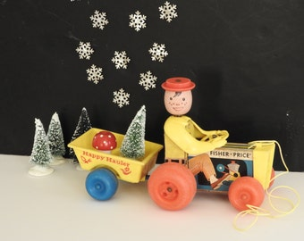 Fisher Price Happy Hauler- Vintage Fisher Price 1966- Wooden and Plastic Toy