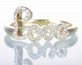 Yellow Gold Diamond LOVE Ring