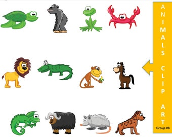 Animal Clip Art - Digital Scrapbook - Cartoon Clip Art - Monkey Clip Art - Crab Clip Art - Clip Art Graphics - Scrapbook Digital Download
