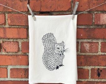 Flour Sack Tea Towel, Dish Towel, Hostess Gift screen printed with a Squirrel