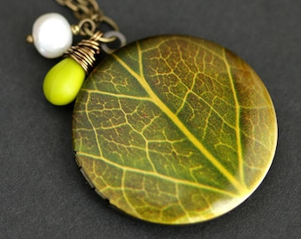 Green Leaf Locket Necklace. Leaf Necklace with Chartreuse Green Teardrop and Fresh Water Pearl Charm. Bronze Locket. Handmade Necklace.