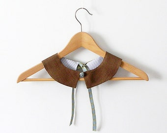 PeterPan Collar  Chocolate Brown and  Striped  Cotton Double Face Detachable Collar
