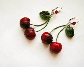 Cherry Earrings Red, cherry jewelry, bright fashion jewelry, handmade, pin-up red jewelry, cherries