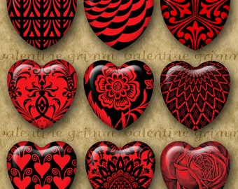 1 inch RED & BLACK HEARTS Digital Printable Hearts collage sheet for Jewelry Pendants Crafts...Graphic Designs for Valentines