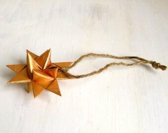 Star ornament gold handmade 3D Froebel Moravian Christmas
