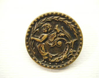 "Antique Victorian FAIRY Faerie Button 1 5/16""  ANIMAL CHARITY Donation"
