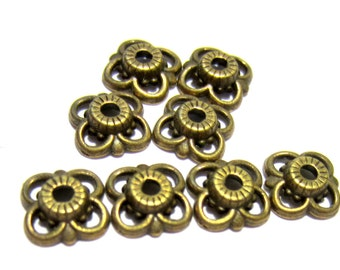 36 Antique bronze bead caps 10mm diy jewelry connectors 35YNF (Y3)