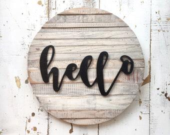 Hello Wood Sign, Hello sign, Door Decor, Door Sign, Hello, Wood Hello, Round sign, Hello Round Sign
