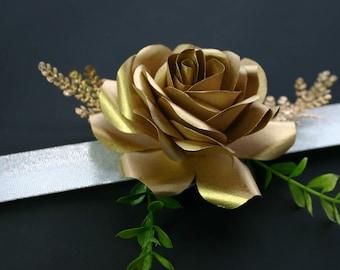 Wrist corsage, Wedding corsages, paper corsage, paper flower corsage, golden corsage