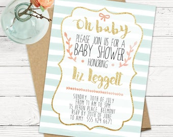 Pretty Baby Shower Invitation - Oh Baby - Mint and Pink - Soft and Sweet - Classic and Simple -  Printable or Printed Cards