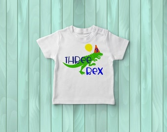 Three-Rex Birthday Tee, Kids' Tee Shirt, 3rd Birthday Outfit, Dinosaur Birthday Party