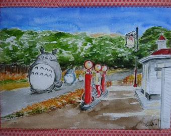 Totoro Gasoline to after Edward Hopper, original watercolor print