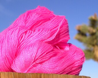 Yarn - Lace Weight  - BFL Wool and Silk - Pink Lovers Pink