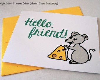 Cute Just Because Card - Mouse and Cheese - Hello Friend