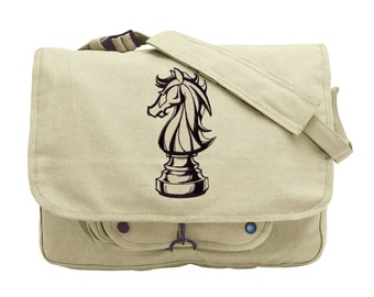 Knight and Day Embroidered Canvas Messenger Bag