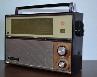 Vintage 1960's VEF -12 Portable Soviet Transistor Radio Model Following the Spid