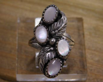 Vintage Sterling Silver Pink Mother of Pearl Ring Size 7.5