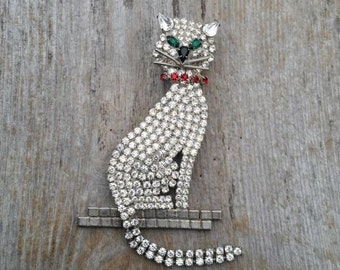 Giant Rhinestone Cat Statement Brooch with Articulated Tail