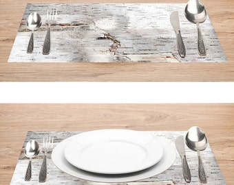 """Paper Placemats Birch Bark Photo Rustic 