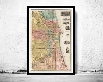Old vintage map of Chicago 1867, United States of America