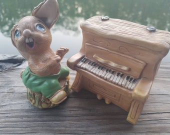 Vintage Pendelfin rabbit thumper and piano