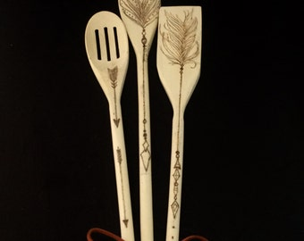 Decorative Wooden Feather/Arrow Spoons