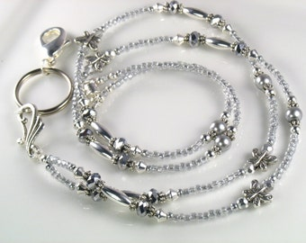 Silver Butterfly Beaded Lanyard, ID Badge Holder, breakaway lanyard, gifts for her