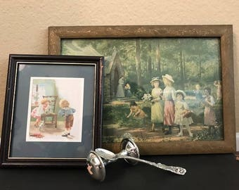 Vintage child prints.  Shabby chic nursery or little girl's room