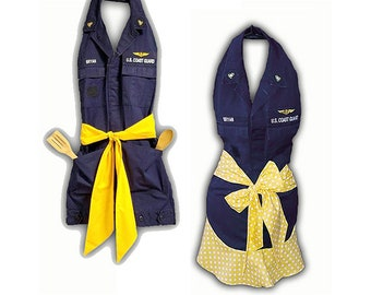 Custom Made Apron Repurposed from Military Uniform Shirt- (or Other Shirts) - With or Without Ruffled Bottom - Very Cute & Stylish