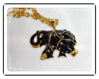 Enameled Elephant Pendant  -  Darling Black & Goldtone   - Neck1044a-121611000