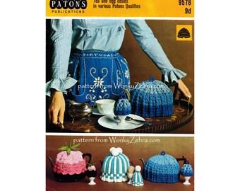 Vintage 893 Three Tea Cosies and Egg Cosies Knitable knit knitting Crochet Patterns PDF from WonkyZebra