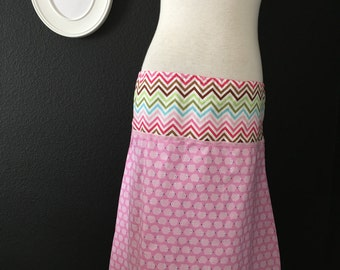 A-line SKIRT - Pink Hedgehop and Chevron - Made in ANY Size - Boutique Mia
