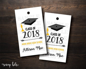 10 Class of 2017 Graduation Tags, Personalized Graduation Labels, Class of 2018 Tags . 2 x 3.5 inches