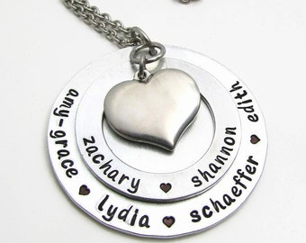 Personalized Jewelry - Personalized Necklace - Hand Stamped Jewelry - Personalized Mom Necklace - Large Family Necklace Heart Necklace (120)
