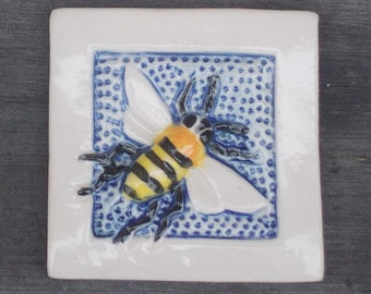 Arts and Crafts, Mission Style Hand Made Bee  Tile, Fridge Art Magnet, Mosaic