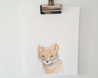 Woodland Fox Watercolour Print