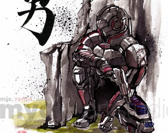 8x10 PRINT Mass Effect Commander Shepard Japanese Calligraphy COURAGE