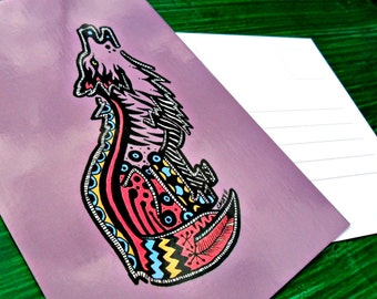 Postcard Purple Wolf Animal Art