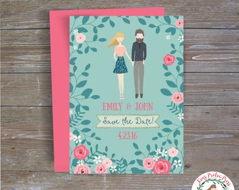 Whimsical Save the Date - Personalized Couple Portraits