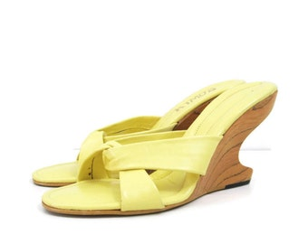 Vintage Boomerang Heel 60s Cantilever Mules Wood Wedge Sandals Shoes 7 - 7.5 VLV