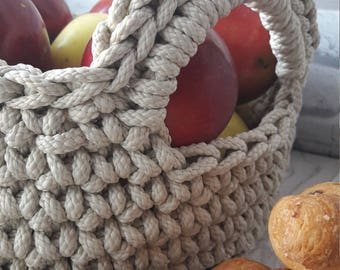 Croched Basket with wooden bottom