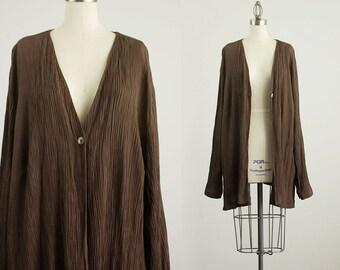 90s Vintage Chocolate Brown Slouchy Crinkle Blazer Coat  / Size Medium