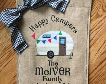 Custom Monogrammed Camping 5th Wheel Burlap Garden Flag Personalized with Name