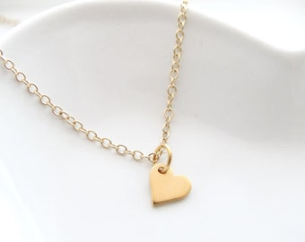 Gold heart necklace  Heart pendant necklace, Mothers necklace, Gold heart jewelry Little heart  Birthdays gift  Gold necklace