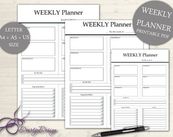 Printables for the home Weekly Planner, Weekly Planner, Office Printable Planner, Weekly Work Planner, Weekly Layout, Planner A4 & A5 US