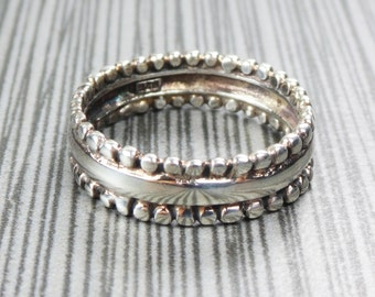 Vintage Sterling Silver Ring Handmade Sterling Ring Silver Band Vintage Band Wedding Band Mens Womens Wedding Band Wide Band 7mm Size 11.5